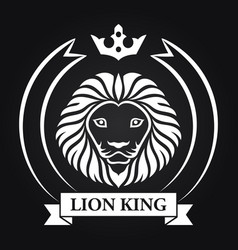 king lion head mascot on black background vector image