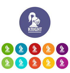knight helmet icons set color vector image