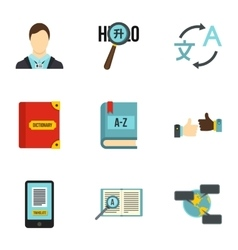 Languages icons set flat style vector