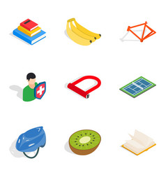 Lifespan icons set isometric style vector