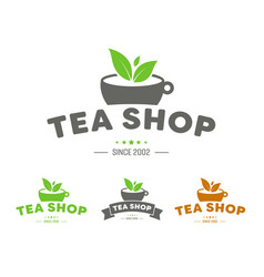 logo for a tea shop or brand with a cup ribbon vector image