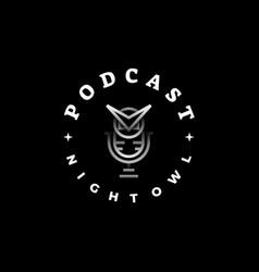 logo podcast owl line art style vector image