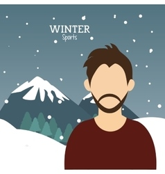 man bearded winter sport alps mountains snow vector image