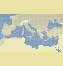 Mediterranean sea pixel colors map vector