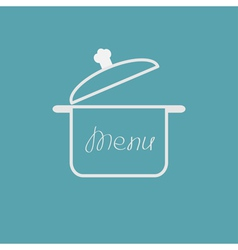 Menu cover with open saucepan flat design style vector