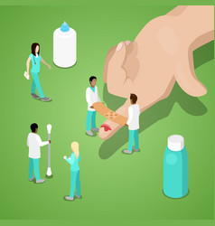 Miniature doctors bandaging a finger first aid vector