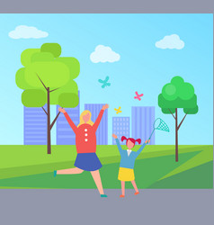 Mother and child catching butterflies in city park vector