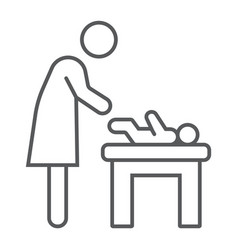 Mother swaddle baby thin line icon parent vector