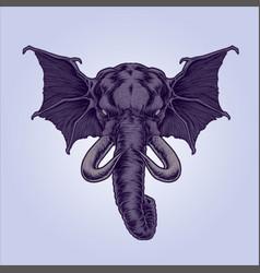 Mythical winged elephant vector