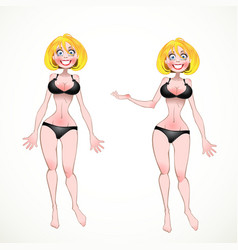 Nude Blond on black underwear in two poses of vector image