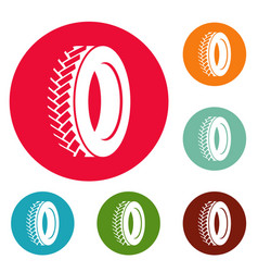One tyre icons circle set vector