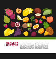 Organic fruits poster of healthy food and farm vector
