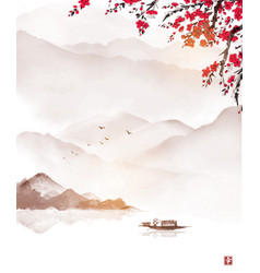 oriental landscape with sakura blossom high misty vector image