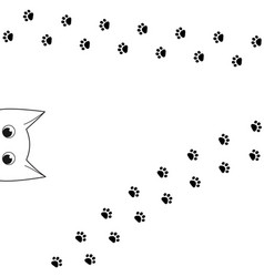 outline funny peeking cat head and paw prints vector image