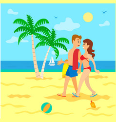 people on beach in swimsuit going in sand vector image