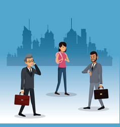 people walking city background vector image