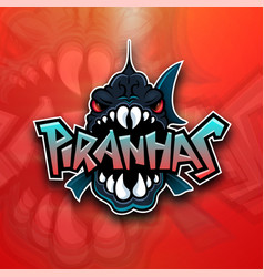 piranhas emblem logo for sports team vector image