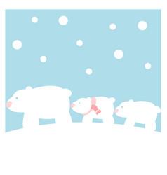 polar bears family in the snow vector image