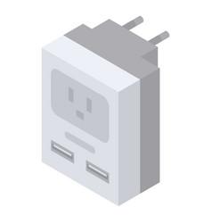Power plug adapter icon isometric style vector