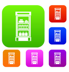 Products in the supermarket refrigerator set vector