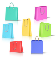 realistic paper bags set vector image