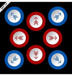 Red and blue arrows eight directions vector