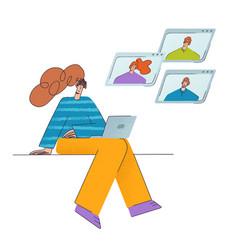 remote team work teamwork a group people vector image