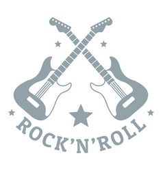 Rock n roll logo simple gray style vector
