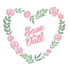 save date floral heart card vintage wedding vector image