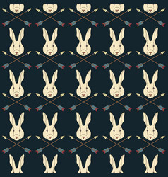 Seamless native american pattern with hares vector