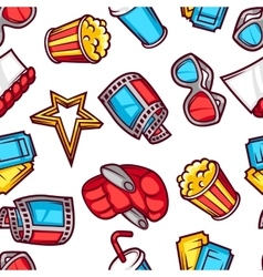 Seamless pattern of 3d movie elements and cinema vector image