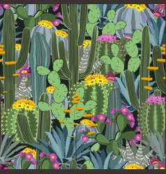 Seamless pattern with cactus wild cactus forest vector