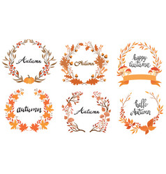 set autumn wreaths with inscription vector image