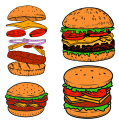 Set of burger design elements for postermenu vector