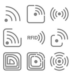 Set of icons with different variations of rfid vector