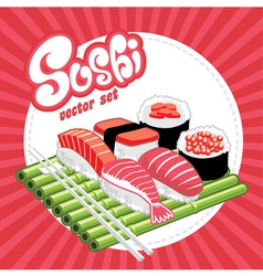 set of sushi vector image