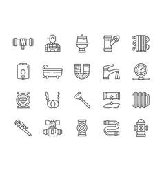 set plumbing services line icons bathtub vector image
