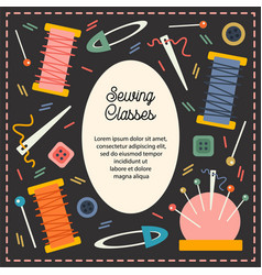 Sewing classes set tailoring accessory vector