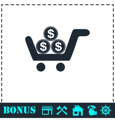 Shopping cart icon flat vector