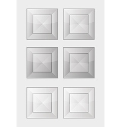 Six gray square badges or buttons vector