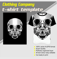 Skull t shirt template hand drawing vector