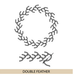 Stitches feather stich type collection of vector