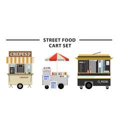 Street food cart set vector