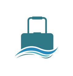 suitcase and wave traveling logo vector image