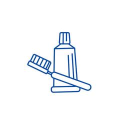 Teeth brush toothpaste line icon concept teeth vector