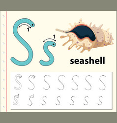 Tracing alphabet template for letter s vector