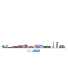 United states raleigh line cityscape flat vector