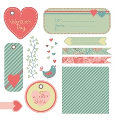 Valentines Day set of design elements vector