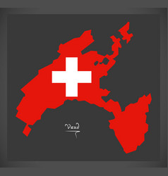 vaud map of switzerland with swiss national flag vector image