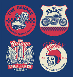 vintage motorcycle badge set vector image
